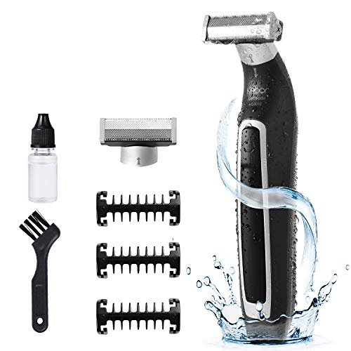 Hybrid Electric Razor Shaver For Mens, Kebor UltraBlade Beard Trimmer Kit Wet & Dry Face & Body Hair, Rechargeble Lithium Ion Battery, IPX5 Waterproof Trim Edge & Shave - HG5010 Silver