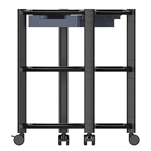 - ProHT 3-Shelf Desk-Side Mobile Printer Stand (05470AA) with Organizing Storage Drawer, Height Adjustable Rolling Computer Machine Cart, Max Load of Each Layer:22 Lbs,19.69x12.99x25inch, Black