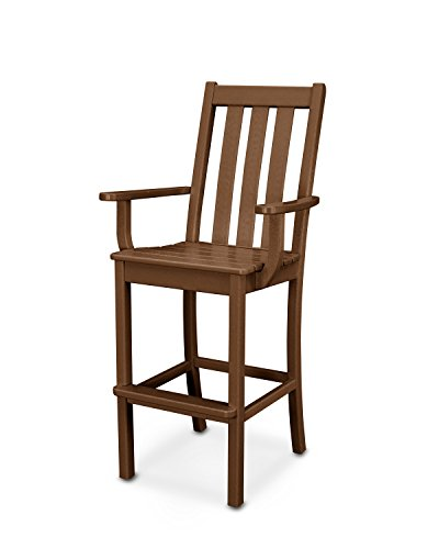 POLYWOOD Vineyard Bar Arm Chair - Chair Arm Bar Classic Teak
