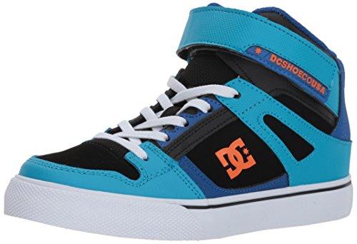 DC Boys' Pure High-Top EV Skate Shoe, Blue/Blue/Orange, 6.5 M M US Big Kid