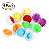 Matching Shapes and Colors Eggs Toy for Kids and Toddlers,6pcs/lot Smart Capsule Egg Children Baby Study Color Shape Blocks Puzzle Educational Toys for Boys Girls Gift