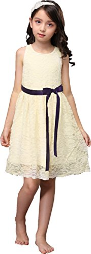 (Shop Ginger Wedding Ivory Flower Girl Dress Lace Bow Sash Children Communion D6 (8-9Y, Plum Ribbon) )