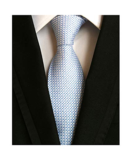 Light Blue White Silk Tie Mini Check Design Necktie Valentines Gifts for Men Guy