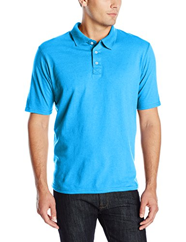 Hanes Men's X-Temp Performance Polo, Neon Blue Heather, Large