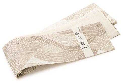 潤滑する暴露シャーク半幅帯 おび工房 生成り 波 正絹 手織り 日本製
