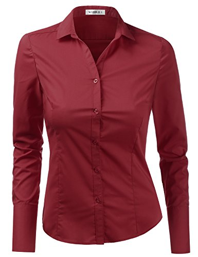 Doublju Womens Plus Size Tailored Long Sleeve Work Wear Button Down Shirt Burgundy (Burgundy Long Sleeve Shirt)
