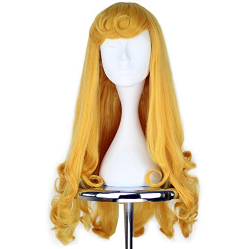 Girl Princess Party Hair Long Curly Golden Halloween Cosplay Costume Wig]()