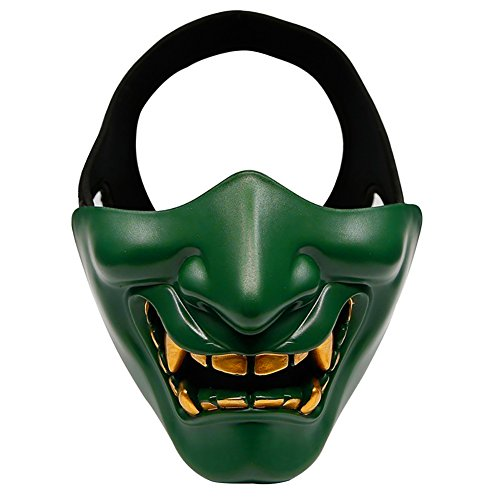 Ammzzoo111 Women Men Halloween Cosplay Costume Mask for Masquerade Carnival Party, Devil Masquerade Party Cosplay Scary Tactical Film Mask Green