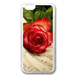 iphone 5 5s Case, Red Rose and Musical Note Case for iphone 5 5s TPU Material Transparent