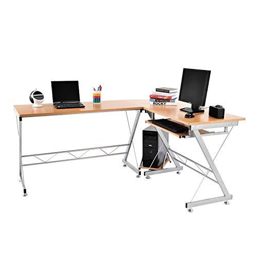 Tenive L Shaped Ergonomic Corner Office Desk Workstation – Computer Desk Home Furniture,67 Natural Color
