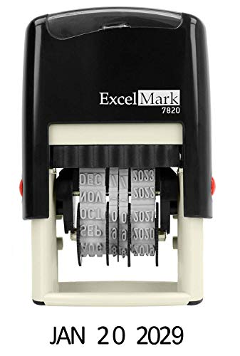 ExcelMark 7820 Date Stamp Self-Inking Rubber - Great for Shipping, Receiving, Expiration and Due Dates - Black Ink (Classroom Date Stamp)