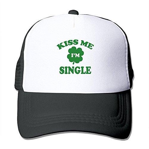 Kiss Me I'm Single Black Adjustable Snapback Mesh Hat Unisex]()