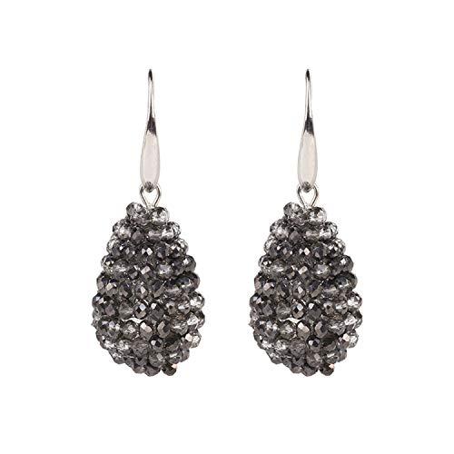 - Water Drop Shape Big Earrings Long Earrings Beaded Handmade Threading Crystal Drop Earrings for Women Gift,half hematite