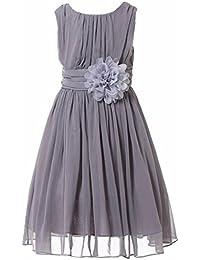 Junior Bridesmaids Little Girls Elegant Ruffle Chiffon Summer Flowers Girls Dresses