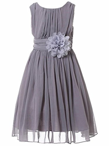 Bow Dream Little Girls Elegant Ruffle Chiffon Summer Flowers Girls Dresses Junior Bridesmaids Grey 10