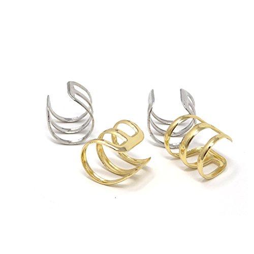 HONBAY 4PCS Non Piercing U Shape Cartilage Ear Clip Ear Cuff Earrings Both for Men and Women