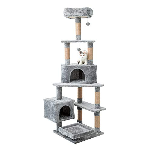 MEWANG 64 inches Cat Tree Tower Kitten Condos Activity Tree Kitty Bed Play Climbing House with Large Tunnel Cave…