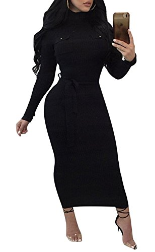 Remelon Womens Casual High Neck Stretchy Comfy Ribbed Tie Waist Bandage Fitted Sweater Midi Dress Black (Belted Ribbed Sweater)