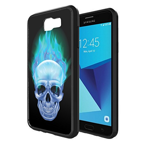 Galaxy J7V / J7 Sky Pro Case, Galaxy J7 Perx Case, Capsule-Case Hybrid Slim Snap-on Case w/TPU Edges (Black) for Samsung Galaxy J7 2017 J7 V / J7 Sky Pro / J7 Perx - (Blue Flame Skull)]()