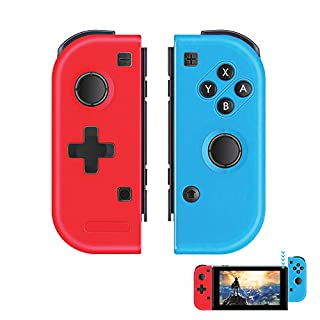 TUTUO Joycon Controller Replacement for Nintendo Switch, Joy Con Wireless Controllers Remote Motion Joypads L/R Switch Gamepad Joystick Bluetooth Controller for Nintendo Switch - Red and Blue