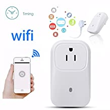 M.Way WiFi Smart Plug Outlet Switch Timer Power Socket Cell Phone Wireless Remote Control Timer Switch Turn on/off Smart Home Electronics Switch For Household Appliances Support IOS 6.1/Android 3.0 White