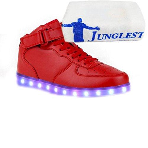 [Present:kleines Handtuch]JUNGLEST® Unisex Damen Herren Jungen Mädchen 7 Farben Blitzen Turnschuhe Farbwechsel USB Aufladen LED Rot-2