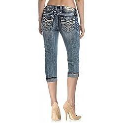 "Rock Revival Boris P225 20"" Inseam Capris Jeans Medium Wash Fluer De Lis"