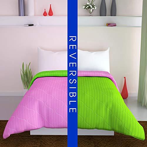 DIVINE CASA All Season Reversible Microfiber Twin Comforter/Bed Blanket/Throws/Quilt - Plush Diamond Design - Machine Washable - Fluffy Lightweight Comforter - 51 X 91 inch Twin Green Pink