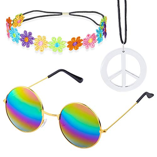 Beelittle Hippie Costume Set - 60's Style Retro Vintage Glasses Peace Sign Necklace Sunflower Crown Hair Band 60s Hippie Dressing Accessory Set (C) -