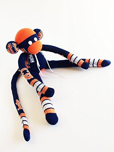 Auburn University- Sock Monkey - AU - Tigers Plush - Navy Sock Monkey - Auburn Tigers - NCAA - College Sock Monkey - Tigers3 (Tigers Batting)