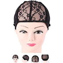 Ladaidra Stretch Mesh Wig Caps With Adjustable Strap/breathable For Making Wigs Black Weaving Weave
