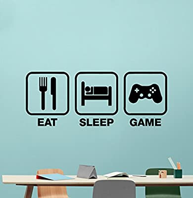 Eat Sleep Game Wall Decal Gaming Vinyl Sticker Joystick Gamepad Gamer Wall Art Design Teen Room Gaming Room Wall Decor Kids Room Housewares Bedroom Decor Removable Wall Mural 65xxx