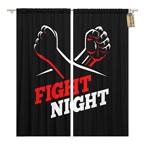 Golee Window Curtain Clenched Fists Fight MMA Kick Boxing Karate Sport Night Home Decor Rod Pocket Drapes 2 Panels Curtain 104 x 84 inches (Best Fighter In Fight Night Champion)