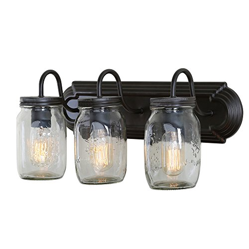 LNC A02980 Glass Mason Jar 3 Lamp Bath Vanity Lights Wall Sconces, Brown