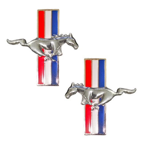 (Universal Gizmo Mustang Running Horse Tri Bar Pony Left and Right Metal Emblems - Pair)