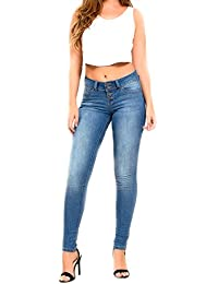 Wannabettabutt 4-Button Skinny Luxe Jeans, Blue