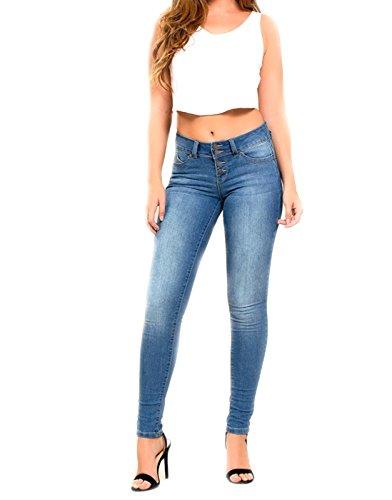 YMI Wannabettabutt 4-Button Skinny Luxe Jeans, Blue (9) (Ymi Skinny Jeans)