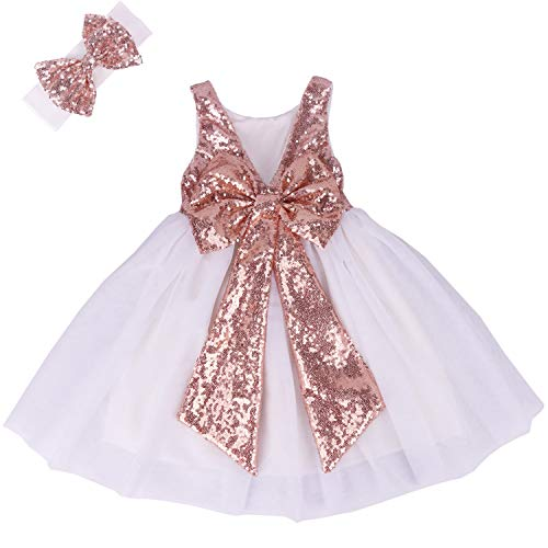 Cilucu Flower Girl Dress Baby Toddlers Sequin Dress Tutu Kids Party Dress Bridesmaid Wedding Gown Birthday Dress Rose Gold/White 3T-4T]()