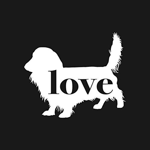 Dachshund (Long Haired) Love - Car Window Vinyl Decal Sticker (Haired Long Dachshunds)