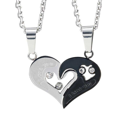 2pcs His & Hers Couples Gift Heart Pendant Love Necklace Set for Lover  Valentine 19