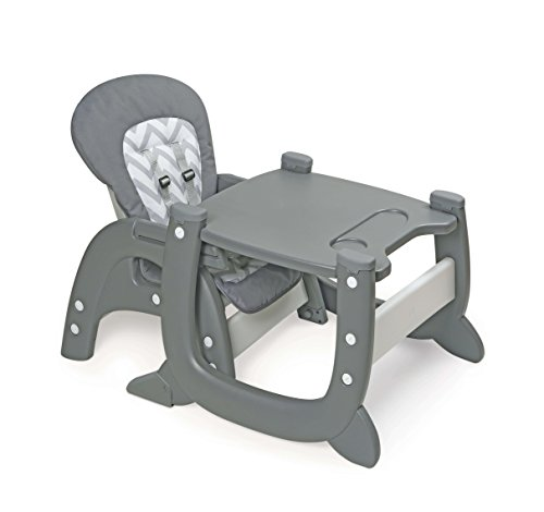 Badger Basket Envee II Baby High Chair with Playtable Conversion, Gray/White