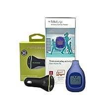 New Fitbit Zip ‑ Smart Wireless Activity + Puregear Car Adapter (Retail Packing) (Blue)