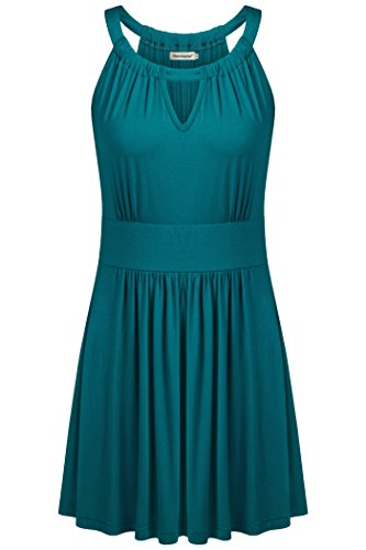 Nandashe Empire Waist Tops for Women, Summer Elegant Plain Pattern Company Hollow Empire Waist Business Sleeveless Office Camisoles for Work Aqua X-Large