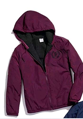EXCLUSIVE - RARE - SOLD OUT-VICTORIA SECRET - PINK - CAMPUS SHERPA JACKET-SIZE MEDIUM/LARGE -BURGUNDY & BLACK -COACHES JACKET COAT - SHERPA LINED.