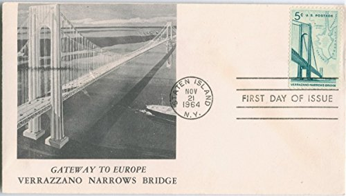 Historic Pictoric Postcard Print - [Non Postcard] First Day of Issue Envelope Cover with 'Gateway to Europe, Verrazzano Narrows Bridge', picture of bridge on front, ()