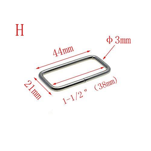 10pcs Metal Wire Formed Rectangle Ring Loops (Black Gun, 1-1/2
