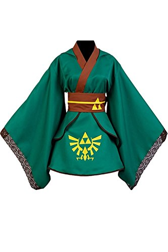 Ya-cos Women's The Legend of Zelda Link Dress Cosplay Costume Kimono Robe Outfit Suit (XXX-Large)
