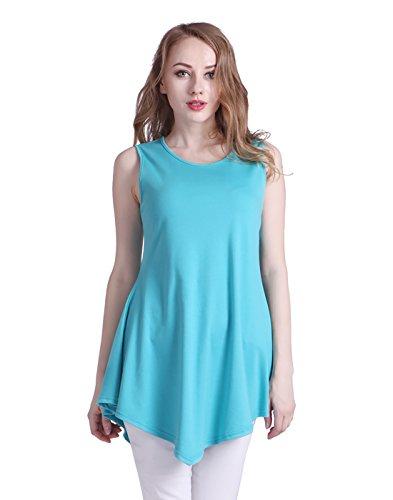 Hem Top Handkerchief - HDE Sleeveless Asymmetrical Tops for Women Fitted Cotton Summer Flared Tank