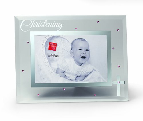 Russ Berrie Small Blessings Christening Glass Photo Frame, Pink