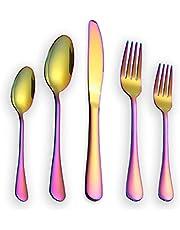 Berglander Besteck Set 30 Stück, Edelstahl Mit Titan Regenbogen Farbe Überzogen, Mehrfarbig Besteckset, Service Für 6,